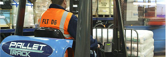 Forklift working in a warehouse